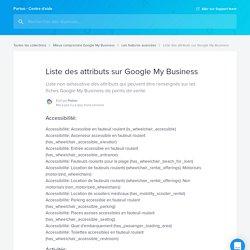 Liste des attributs sur Google My Business