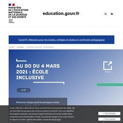 Au BO du 4 mars 2021 : École inclusive