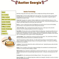 Auction Terminology