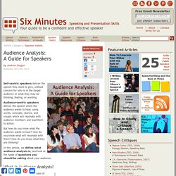 Audience Analysis: A Guide for Speakers