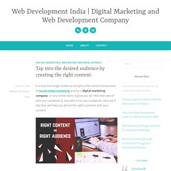 Tap into the desired audience by creating the right content. – Web Development India
