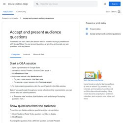 Accept and present audience questions - Computer - Docs editors Help