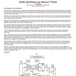 Audio Synthesis via Vacuum Tubes