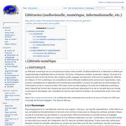 Littéracies (audiovisuelle, numérique, informationnelle, etc.) — EduTech Wiki