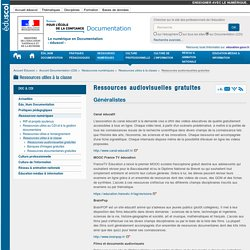 Ressources audiovisuelles gratuites — Documentation (CDI)