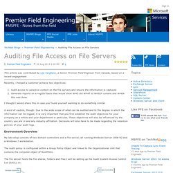 Auditing File Access on File Servers - Premier Field Engineering