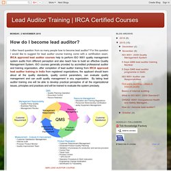 IRCA Certified Courses : How do I become lead auditor?