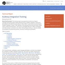 Auditory Integration Training
