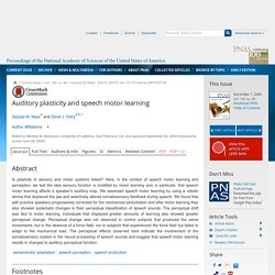 Auditory plasticity and speech motor learning