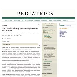 Nature of Auditory Processing Disorder in Children