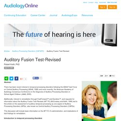 Auditory Fusion Test-Revised Robert Keith Auditory Processing Disorders (CAP/APD) 1232
