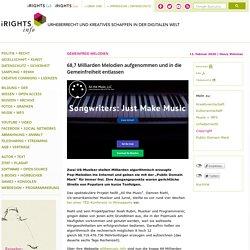 68,7 Milliarden Melodien aufgenommen und in die Gemeinfreiheit entlassen