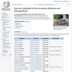 Liste der Aufstände in den deutschen Kolonien und Schutzgebieten