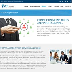 IT Staffing, Resource Augmentation Services Bangalore