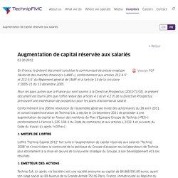 Augmentation de capital réservée aux salariés