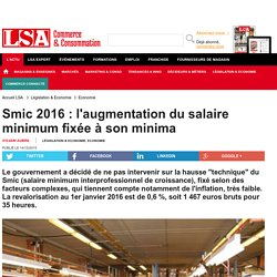 Smic 2016 : l'augmentation du salaire minimum...