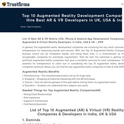 Top 10 Augmented Reality Companies in India & USA