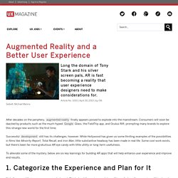 Augmented Reality and a Better User Experience