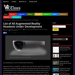 List of All Augmented Reality Headsets Under Development – Virtual Reality Times