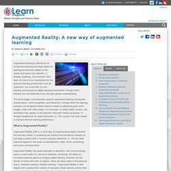 Augmented Reality: A new way of augmented learning