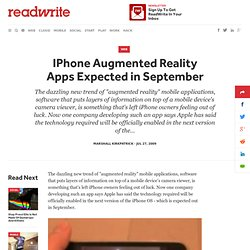 IPhone Augmented Reality Apps Expected in September