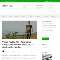 Virtual Reality (VR) – Augmented Reality (AR) – Mixed Reality (MR) – A Quick Understanding – Abhijit's Blog