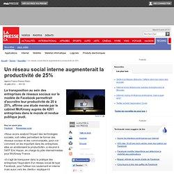Un réseau social interne augmenterait la productivitéde 25%