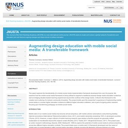 Augmenting design education with mobile social media: A transferable framework - NUS Teaching Academy
