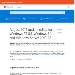 August 2014 update rollup for Windows RT 8.1, Windows 8.1, and Windows Server 2012 R2