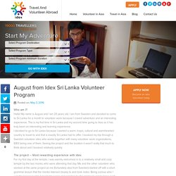 August from Idex Sri Lanka Volunteer Program - goidex