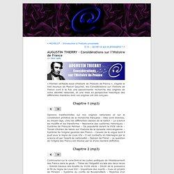 AUGUSTIN THIERRY – Considérations sur l'Histoire de France «