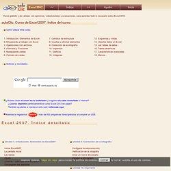Curso de Excel 2007. aulaClic. Índice detallado del curso gratis de Excel 2013