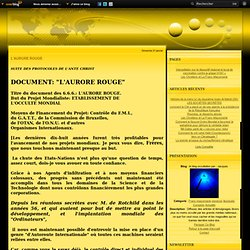 L'AURORE ROUGE - le blog occultation par : Jacques