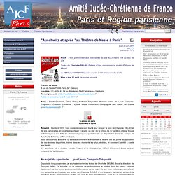 """""""Auschwitz et après """"au Théâtre de Nesle à Paris"""" - AJCF Paris et région parisienne"""