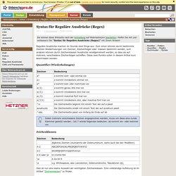 Syntax für Reguläre Ausdrücke (Regex) - RegEx
