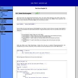 Datei Ein/Ausgabe Verzeichnis open read write STDOUT STDIN print sysopen sysread syswrite