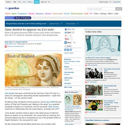 Jane Austen to appear on £10 note