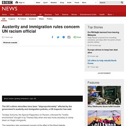 Austerity and immigration rules concern UN racism official