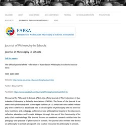 FAPSA - Federation of Australasian Philosophy in Schools Associations Journal of Philosophy in Schools »