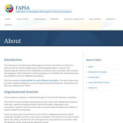 FAPSA - Federation of Australasian Philosophy in Schools Associations About »