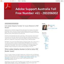 Adobe PDF Support Australia Toll Free Number +61 - 283206002