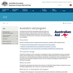 Australia's aid program - Department of Foreign Affairs and Trade