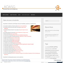 Open Access in Australia – Australasian Open Access Strategy Group