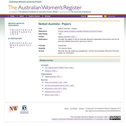 Netball Australia - Papers - The Australian Women's Register