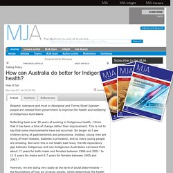 How can Australia do better for Indigenous health?