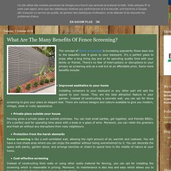 What Are The Many Benefits Of Fence Screening?