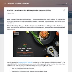 Food Gift Cards in Australia -Right Option for Corporate Gifting