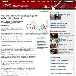 Google loses Australia 'gangland' defamation lawsuit