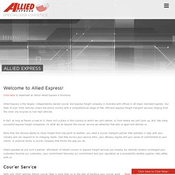 Allied Express - Australia's largest, independently owned courier and express freight company