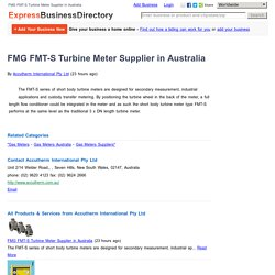 FMG FMT-S Turbine Meter Supplier in Australia